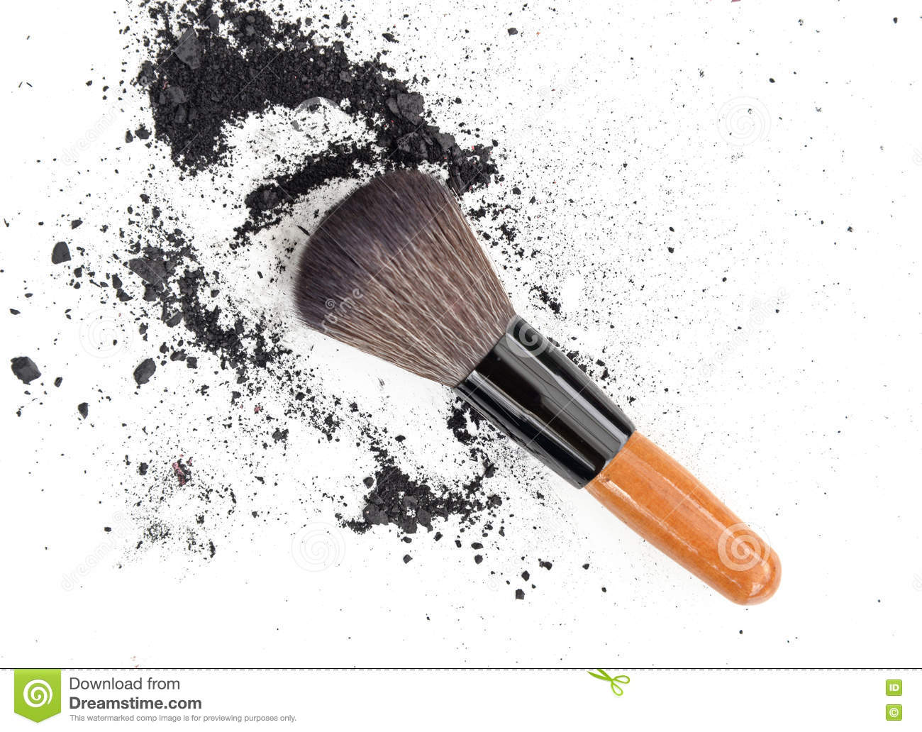 Black make up color. Make up eyeshadow with brush. Isolate on white