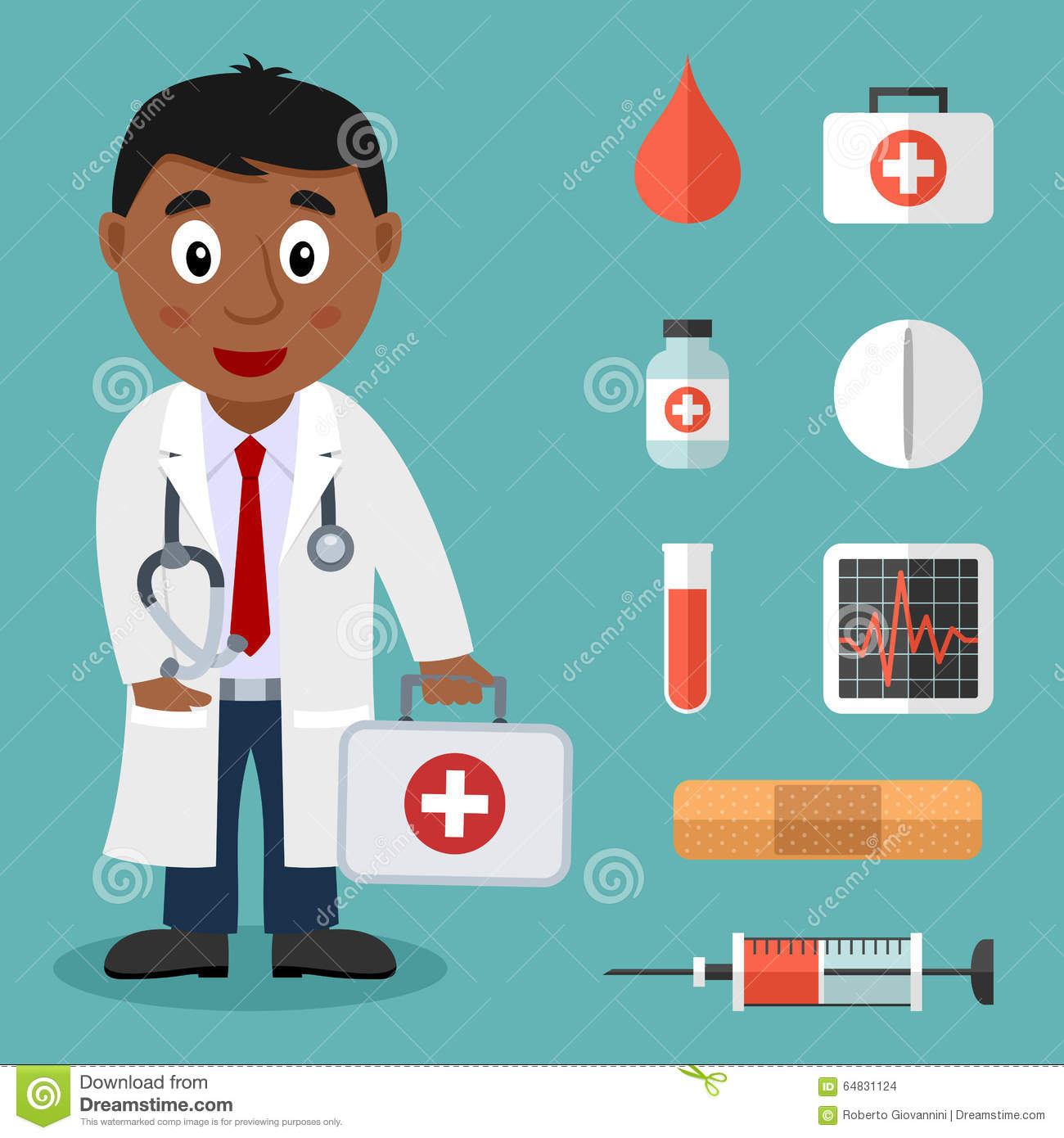 Black Male Doctor and Flat Medical Icons