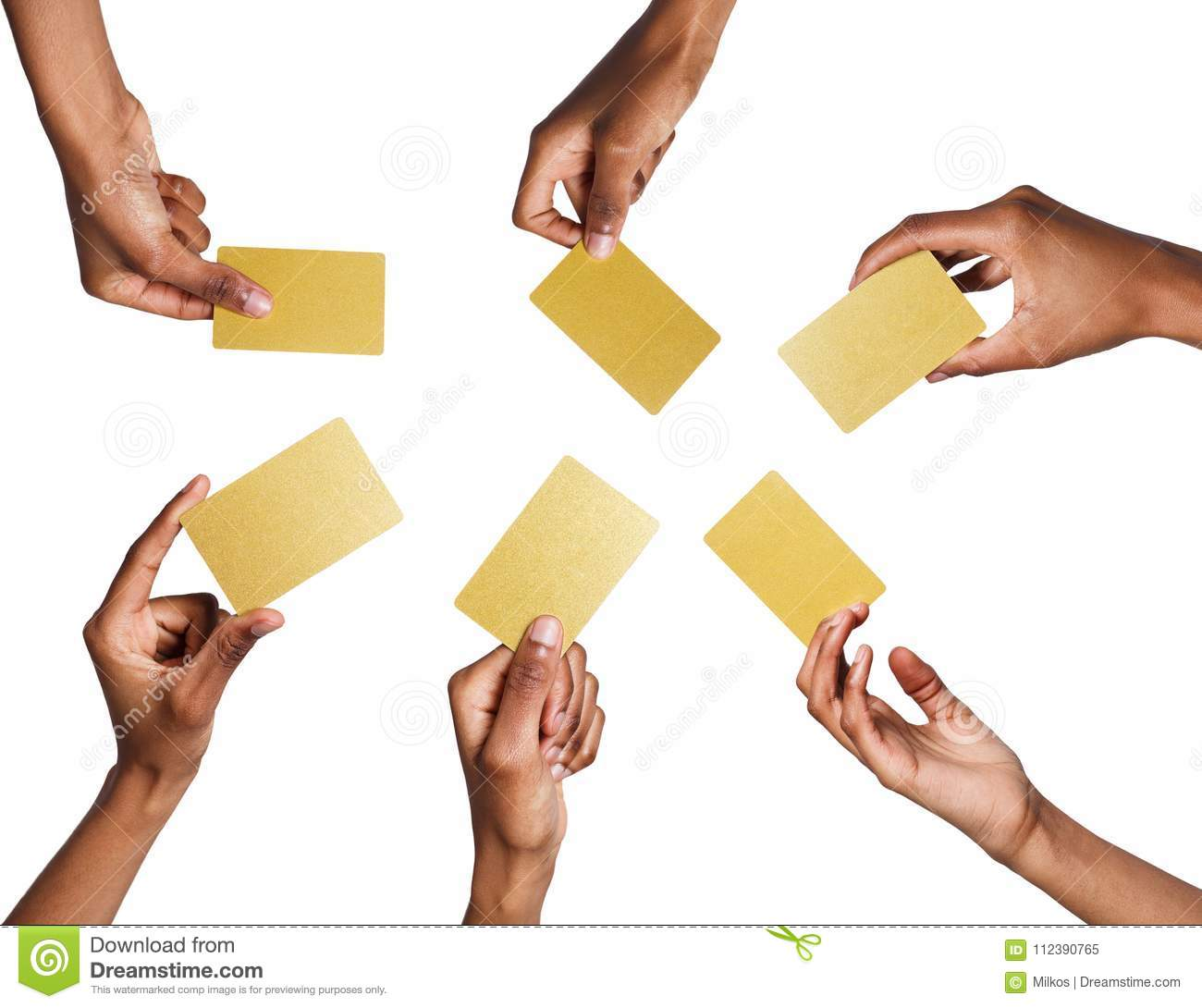 Black male hand with golden business cards set isolated on white black male hand with golden business cards set isolated on white colourmoves
