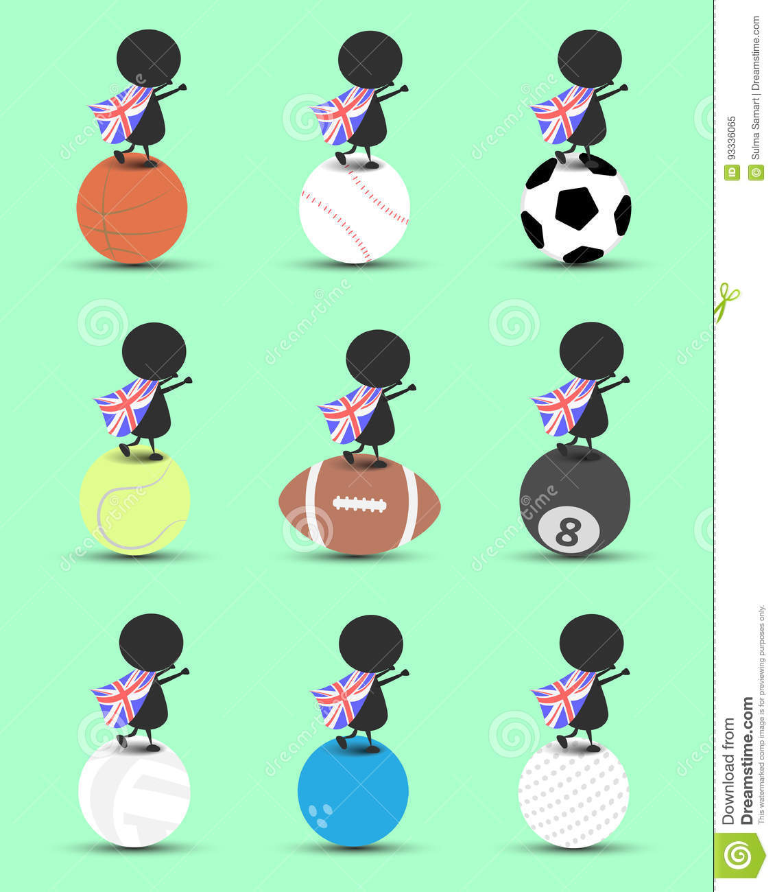 Black Man Character Cartoon Stand On Sports Ball And Hands Up