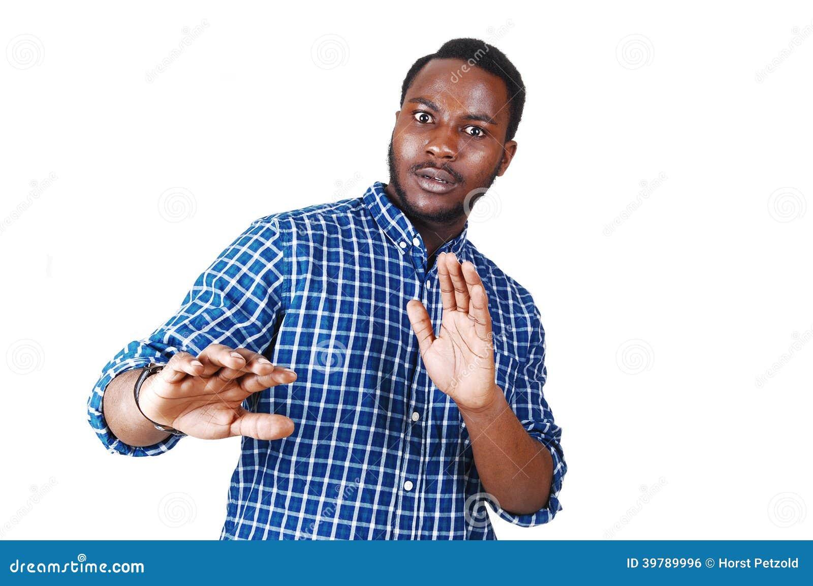 black man frightened stock photo image 39789996
