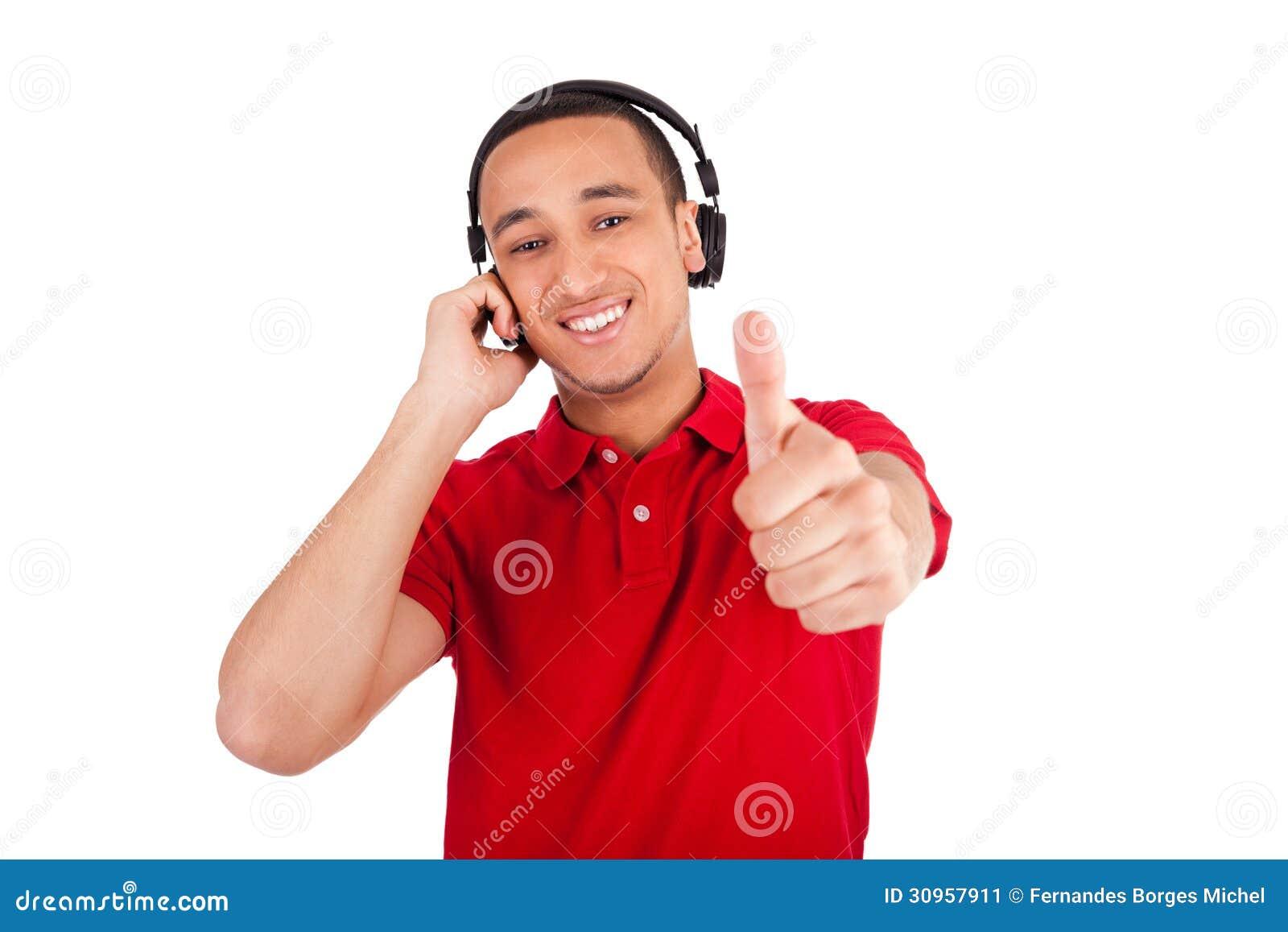 Black Man Having Fun Listening To Music Stock Image ...