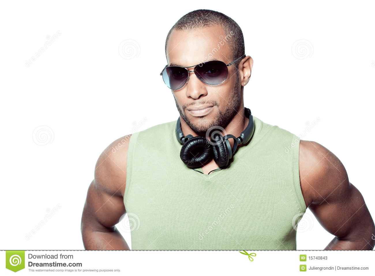 Black Man With Headphones Stock Image Image Of Handsome