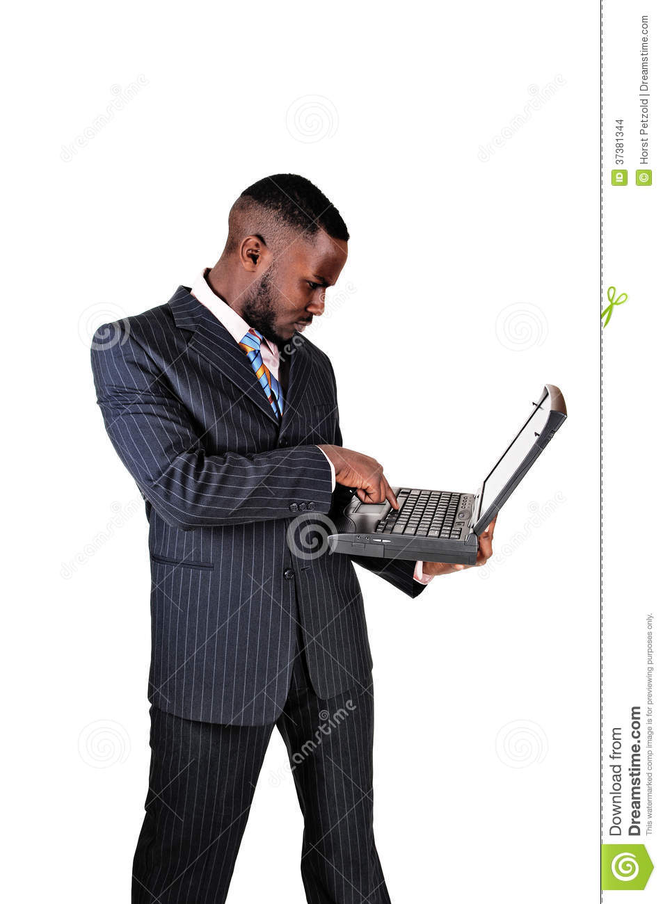 Technology Management Image: Black Man With Laptop. Stock Photo. Image Of American