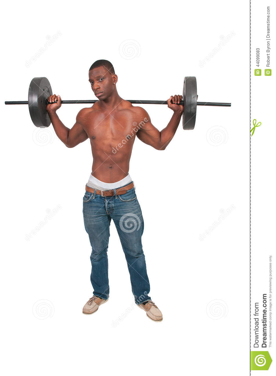 Black Man Lifting Weight Stock Photo - Image: 44099083