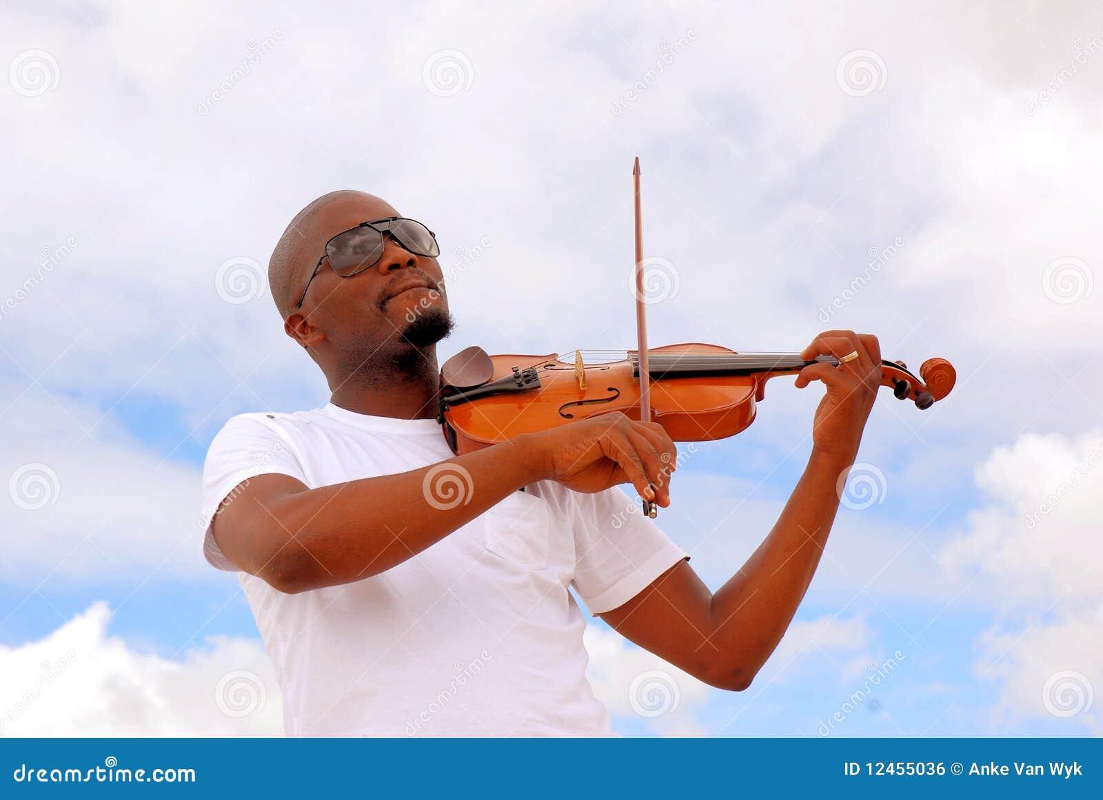 Black man playing violin