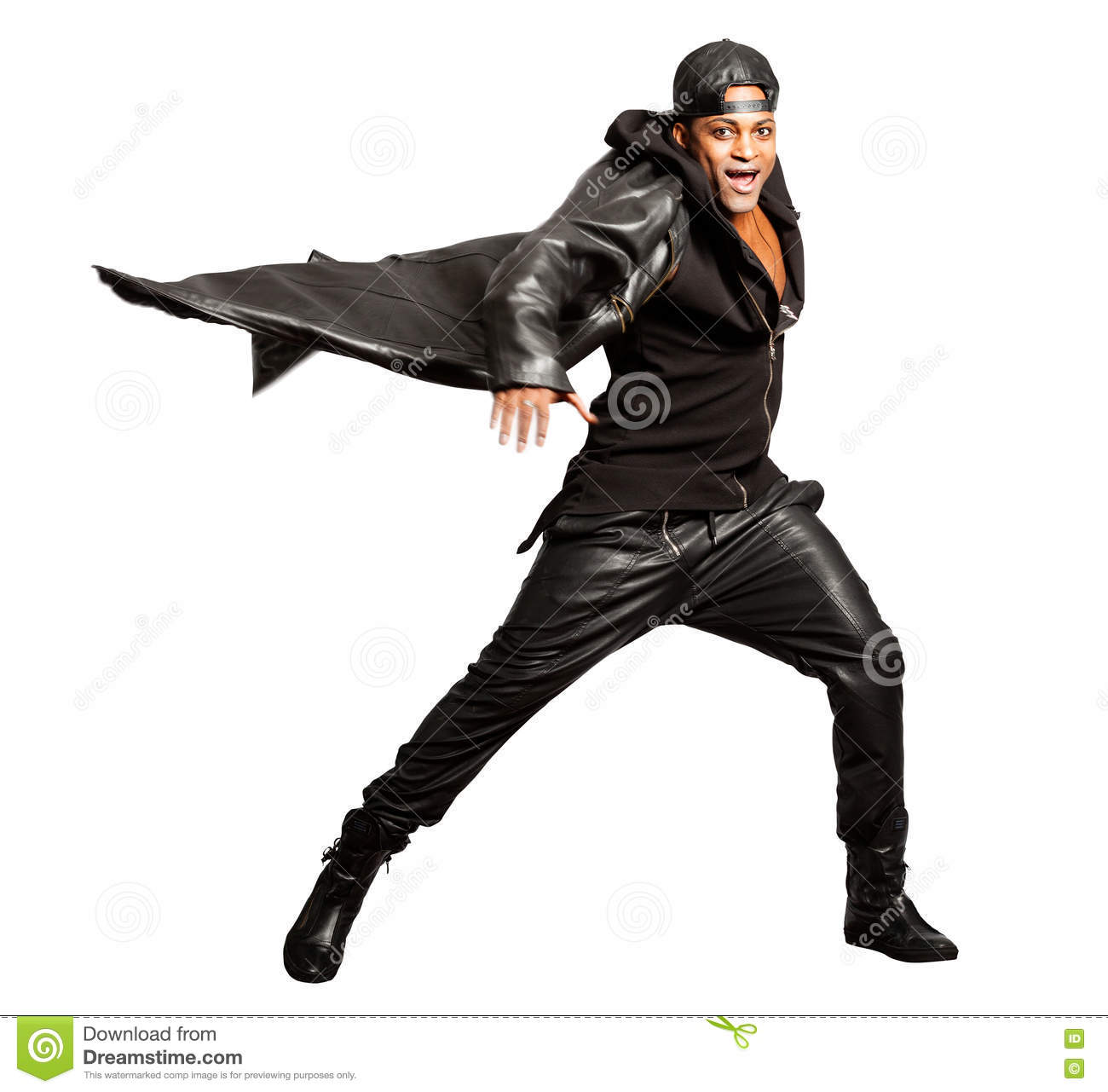 Rocking Motion In Adults ~ Black man rock leather style isolated on white motion