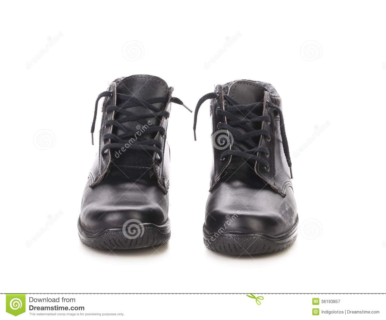 Black Man S Boots Front View Royalty Free Stock