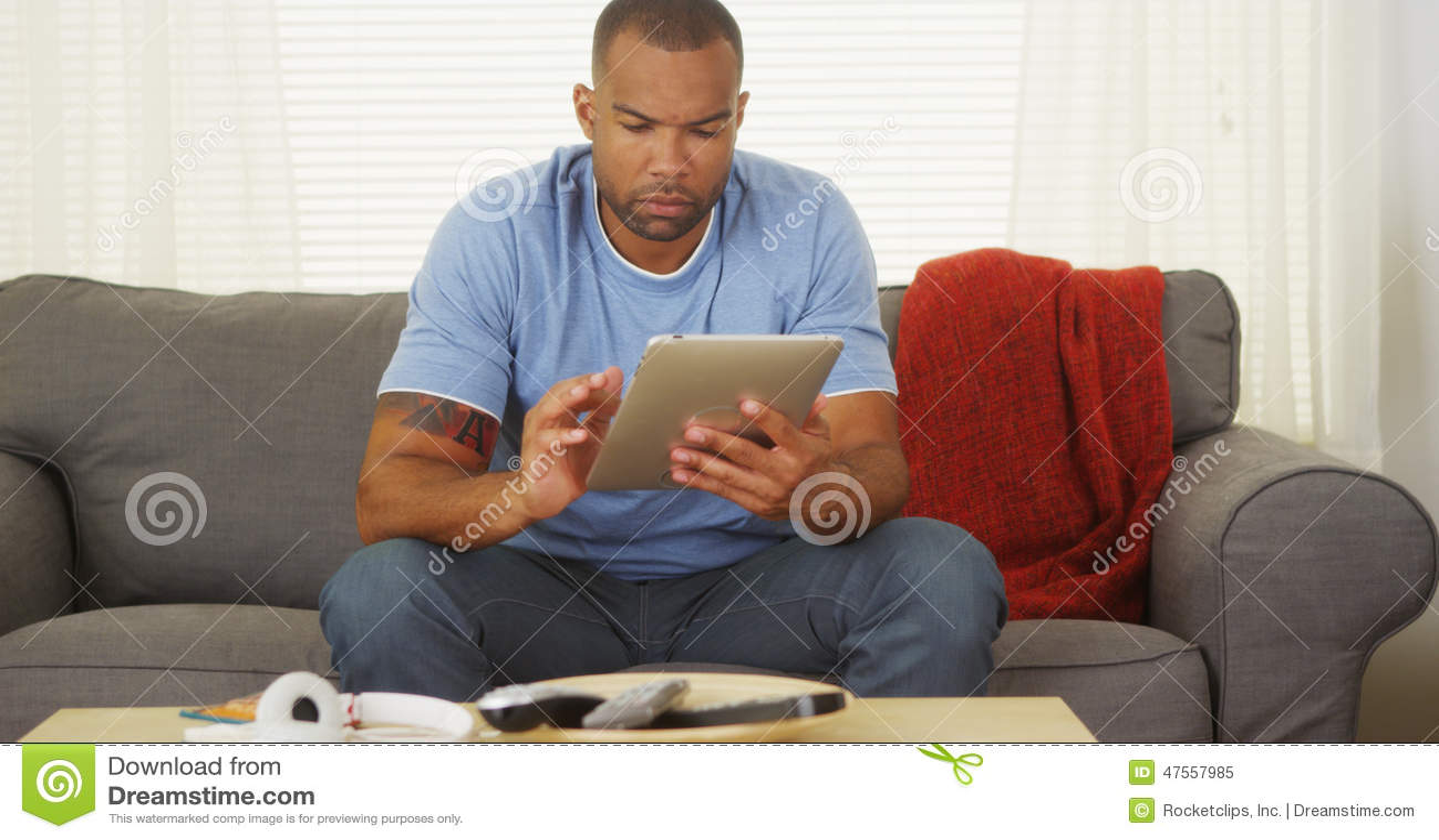 Black Guy Using Tablet Stock Photo - Image: 44819380