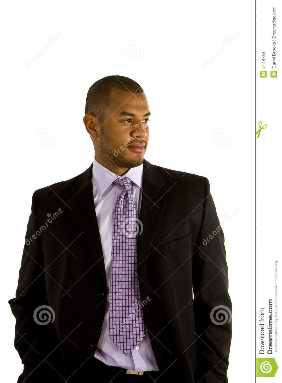 Black Man In Suit Hands In Pockets Looking To Side Stock ...