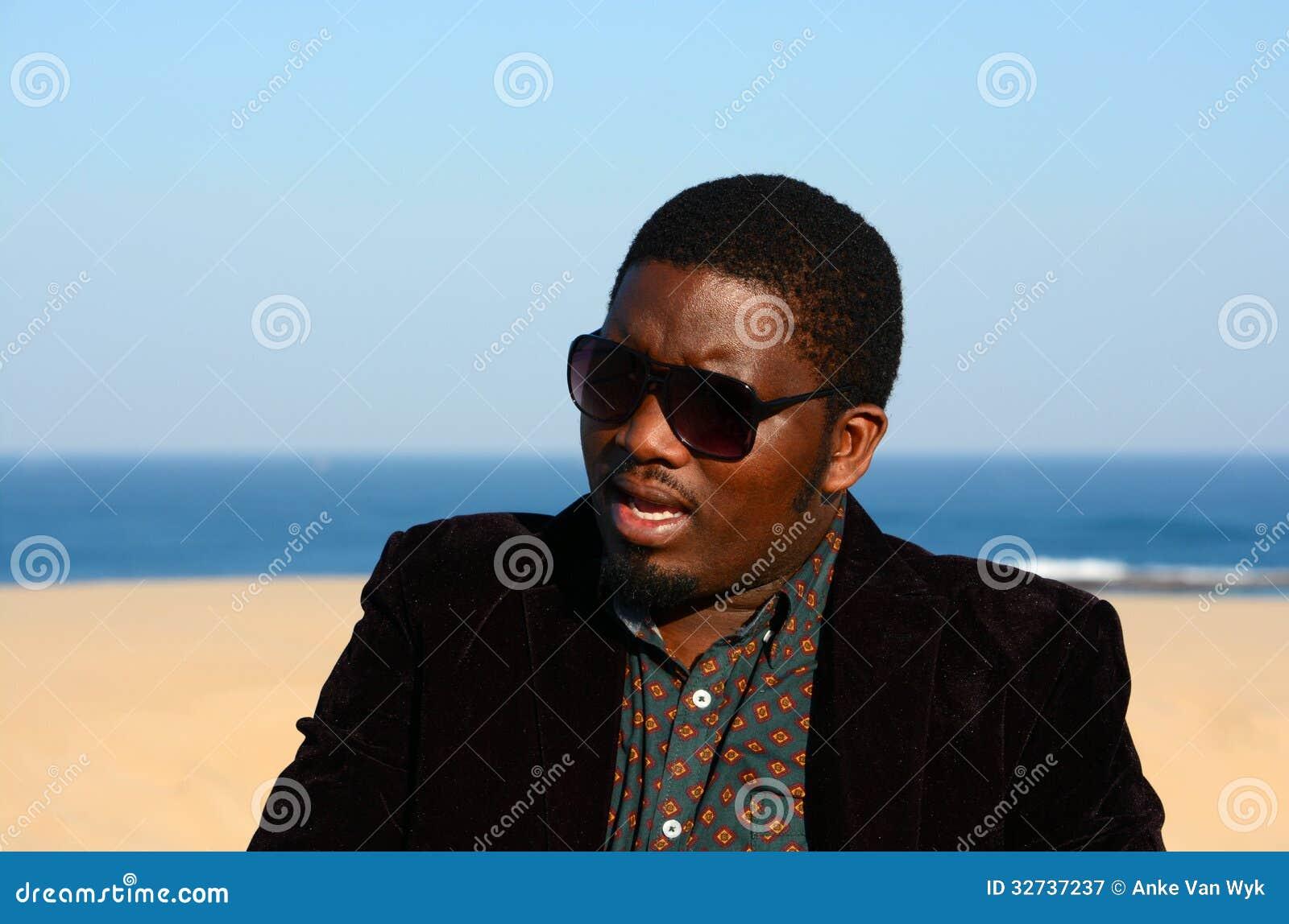 Black man with sunglasses stock image. Image of horizontal ...
