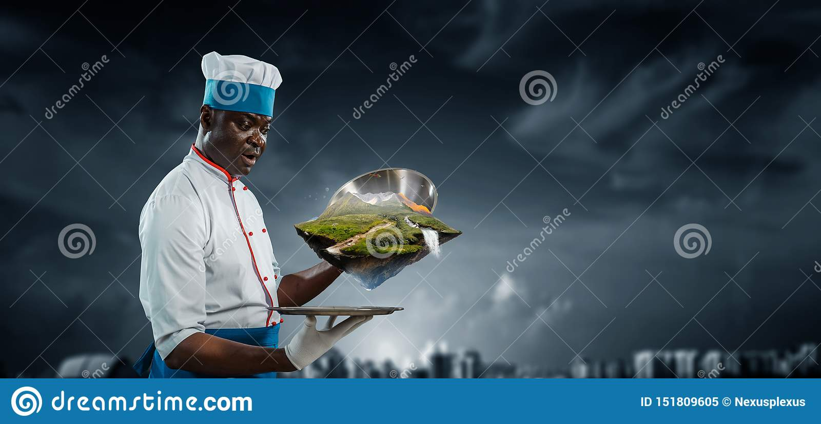 Black man wearing an apron and cooking in action. Mixed media