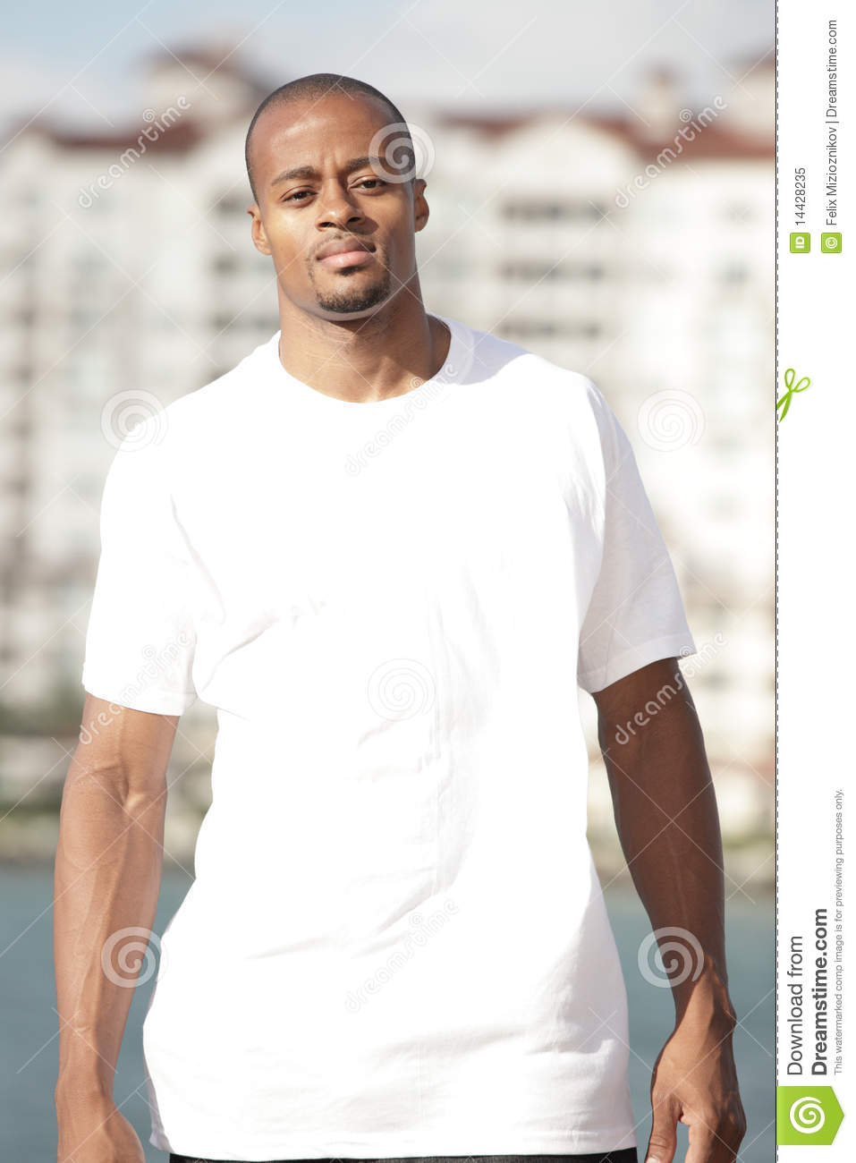 Black man in a white shirt stock image image of bald for Man in white shirt