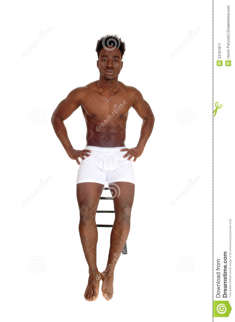 Black Man In White Underwear. Stock Photo - Image: 53761871