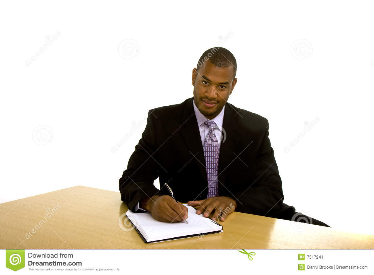 black man writing desk looking camera 7517241 - Fast Products Of papercp In The Uk