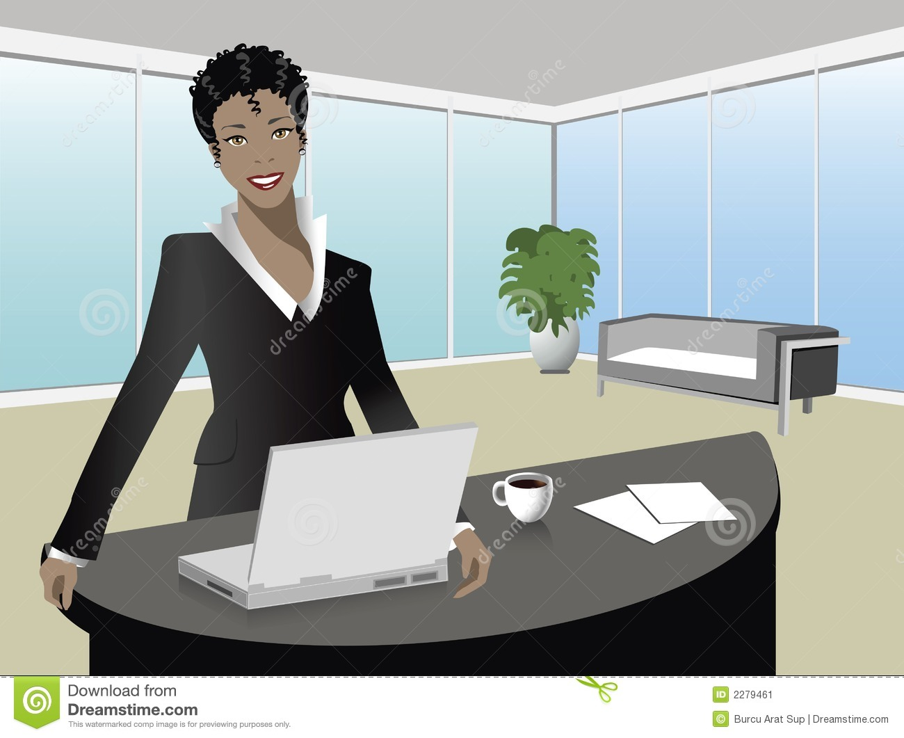 Black manager stock vector. Image of ethnic, attractive ...