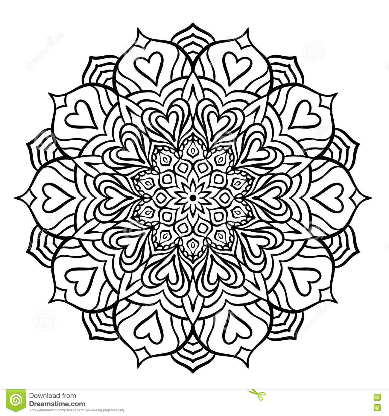Black Mandala with Hearts stock vector. Illustration of floral ...