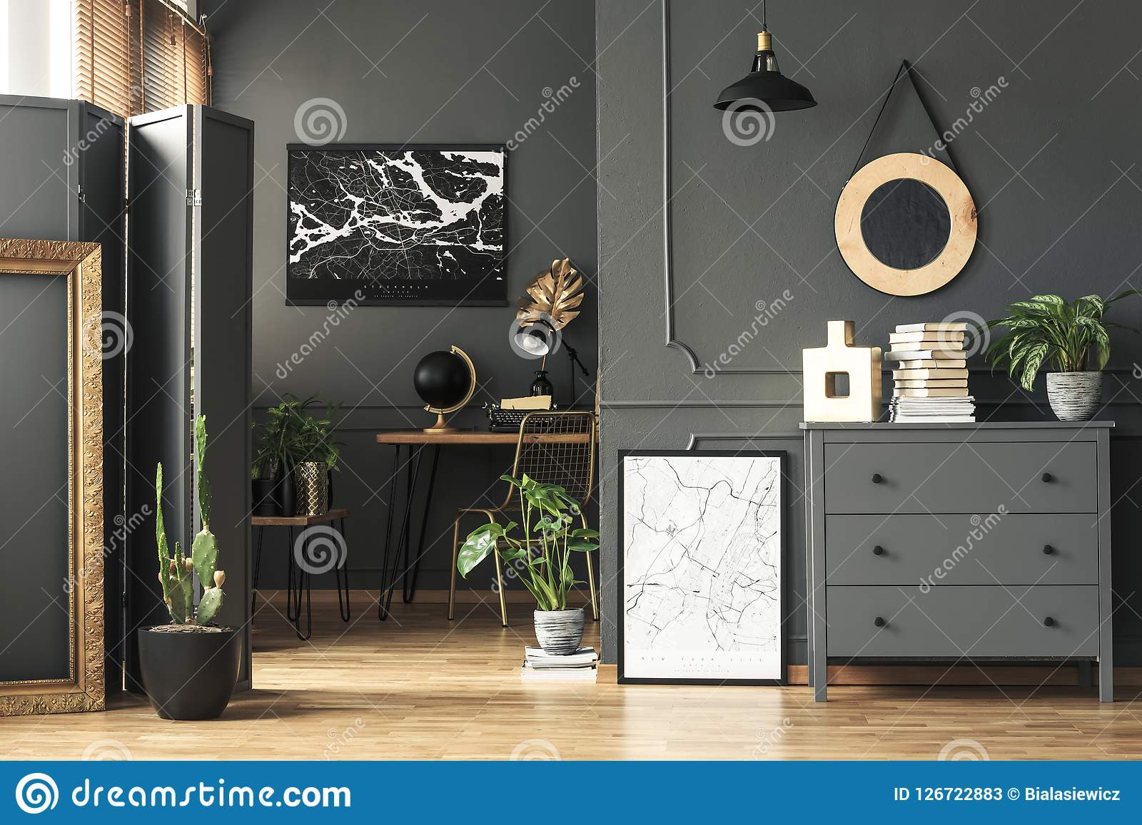 Superb Black Map On Grey Wall In Dark Living Room Interior With Download Free Architecture Designs Photstoregrimeyleaguecom