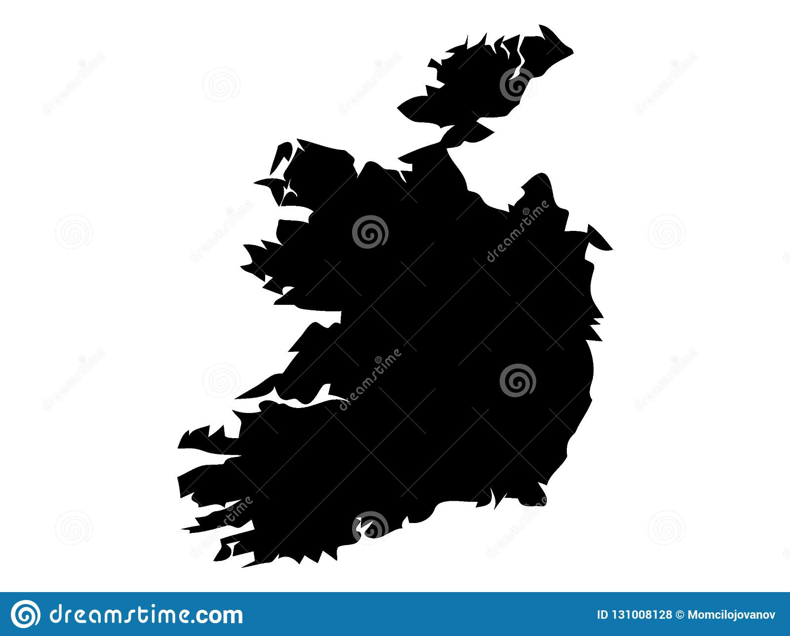 Detailed Map Of Ireland Vector.Black Map Of Ireland Stock Vector Illustration Of Netherlands