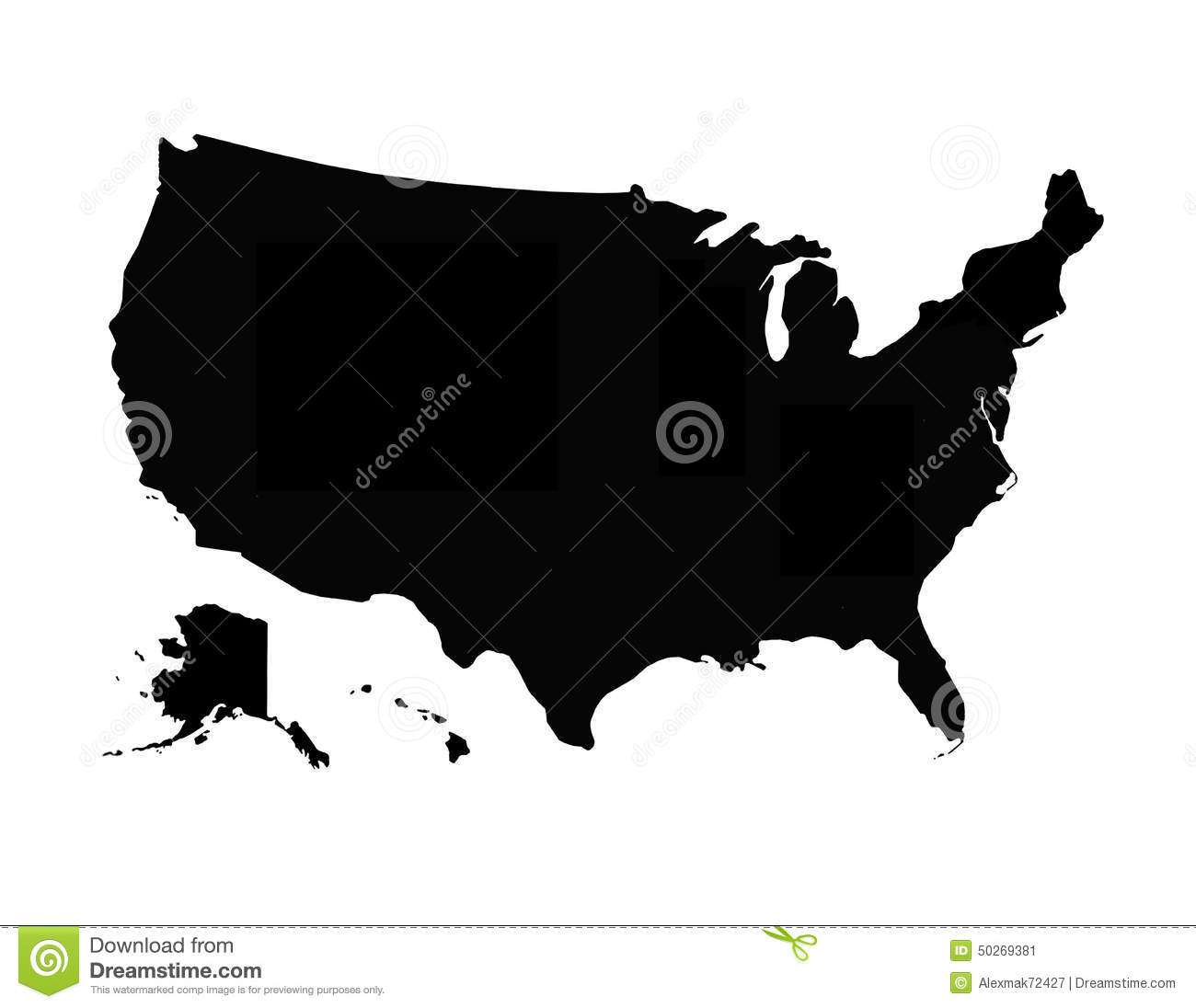 Black map of USA stock image. Image of picture, territory - 50269381