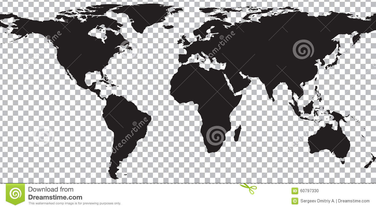 Black map of world on transparent background stock vector black map of world on transparent background royalty free vector gumiabroncs Images