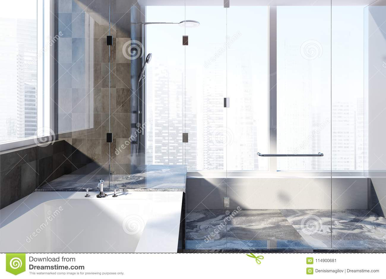 Black Marble Bathroom Interior Stock Illustration - Illustration of ...