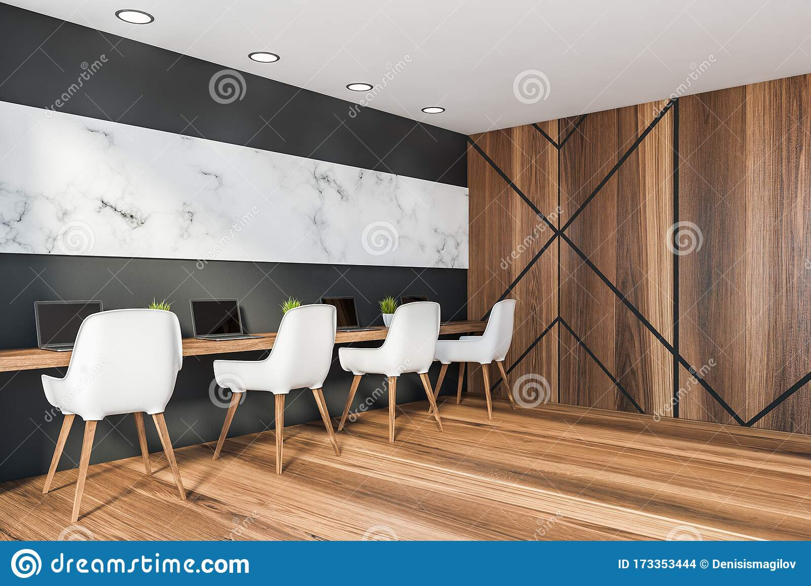 Black And Marble Coworking Style Office Corner Stock Illustration Illustration Of Inside Lamps 173353444