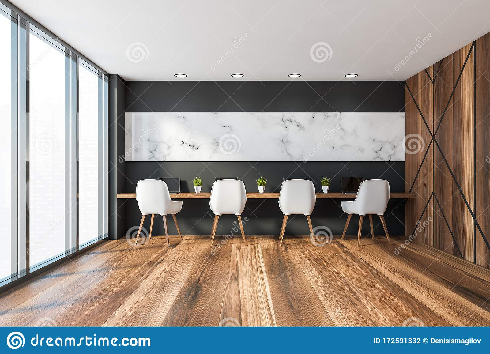 Black And Marble Coworking Style Office Interior Stock Illustration Illustration Of Floor Inside 172591332