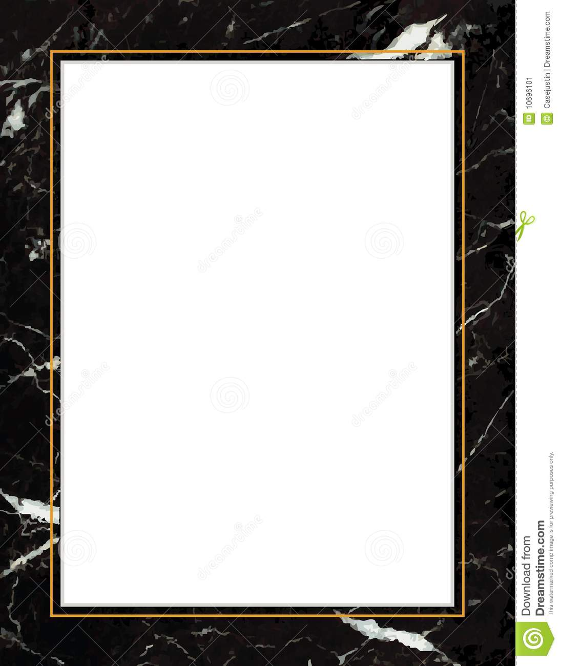 Black marble frame with white streaks and swirls gold trim add your own text for posters fliers announcements scrapbooks albums and letterheads