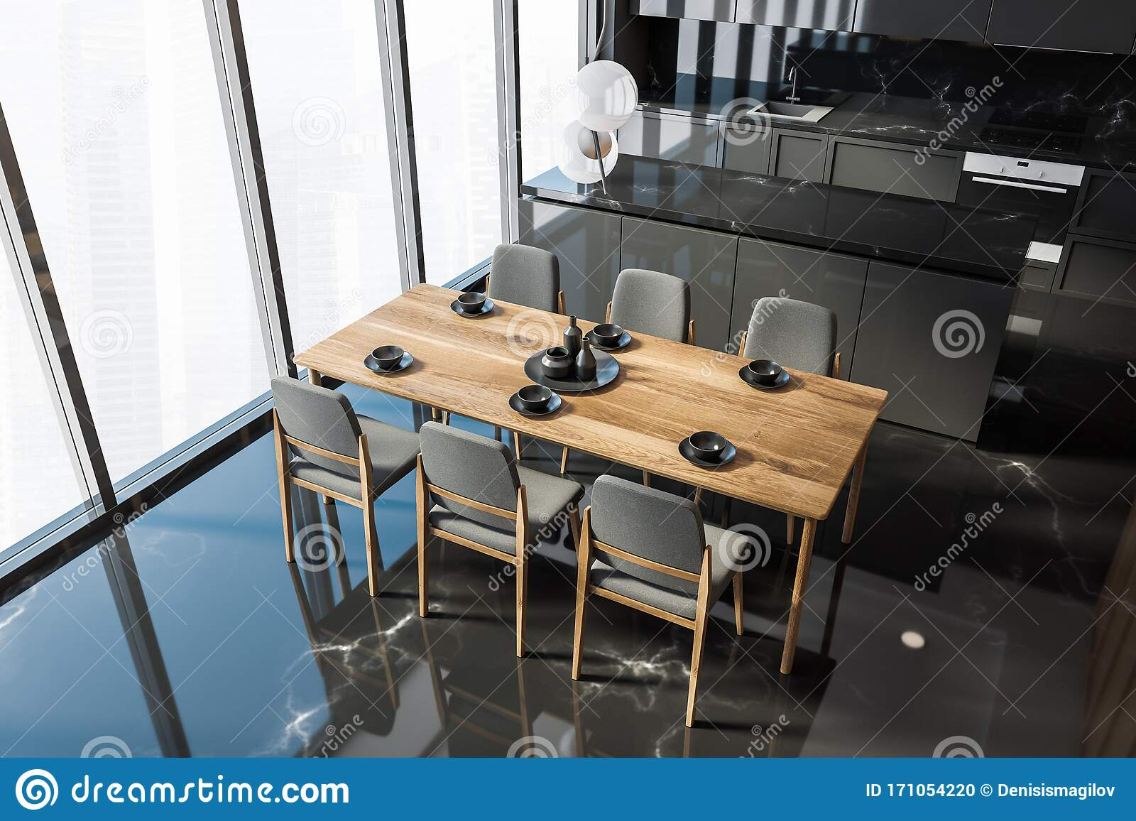 Black Marble Kitchen With Table, Top View Stock Illustration ...