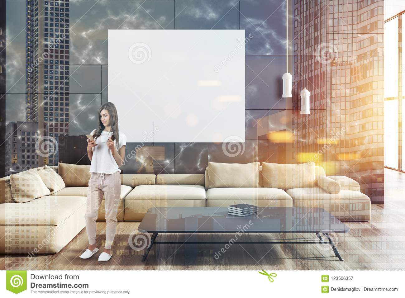 Black Marble Living Room Beige Sofa Poster Woman Stock Illustration Illustration Of Cozy Copy 123506357