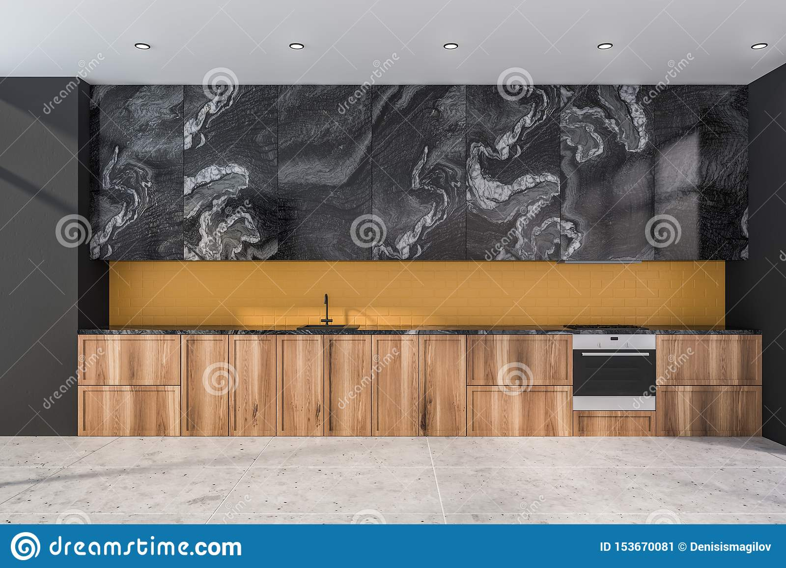 Black Marble And Yellow Kitchen With Countertops Stock Illustration Illustration Of Cupboard Home 153670081