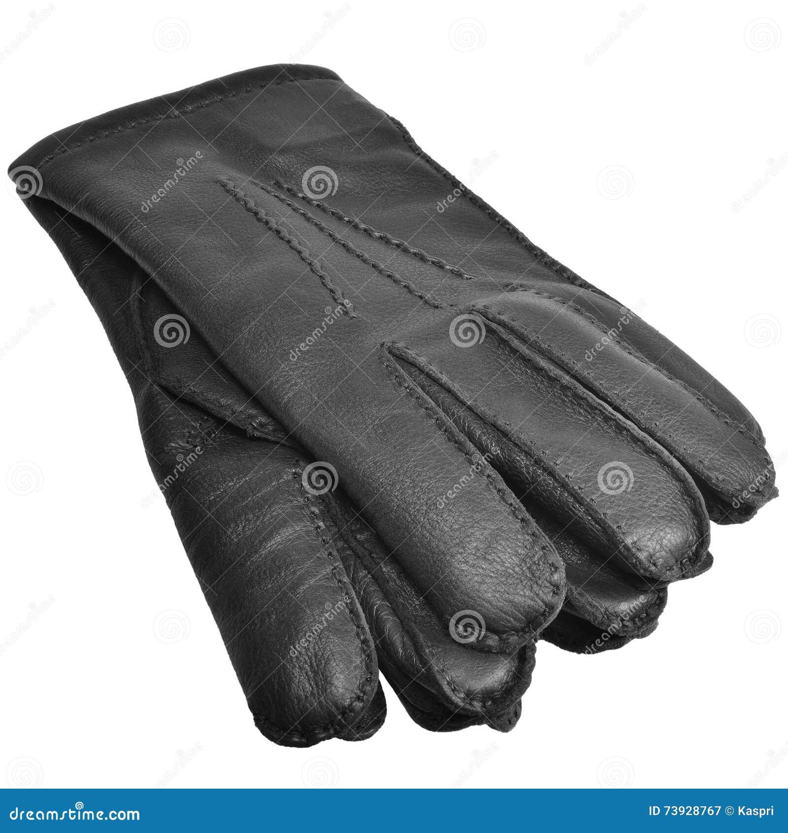 Black Men Deerskin Gloves Large Detailed Isolated Men s Fine Grain Deer Leather Glove Pair Macro Closeup Texture