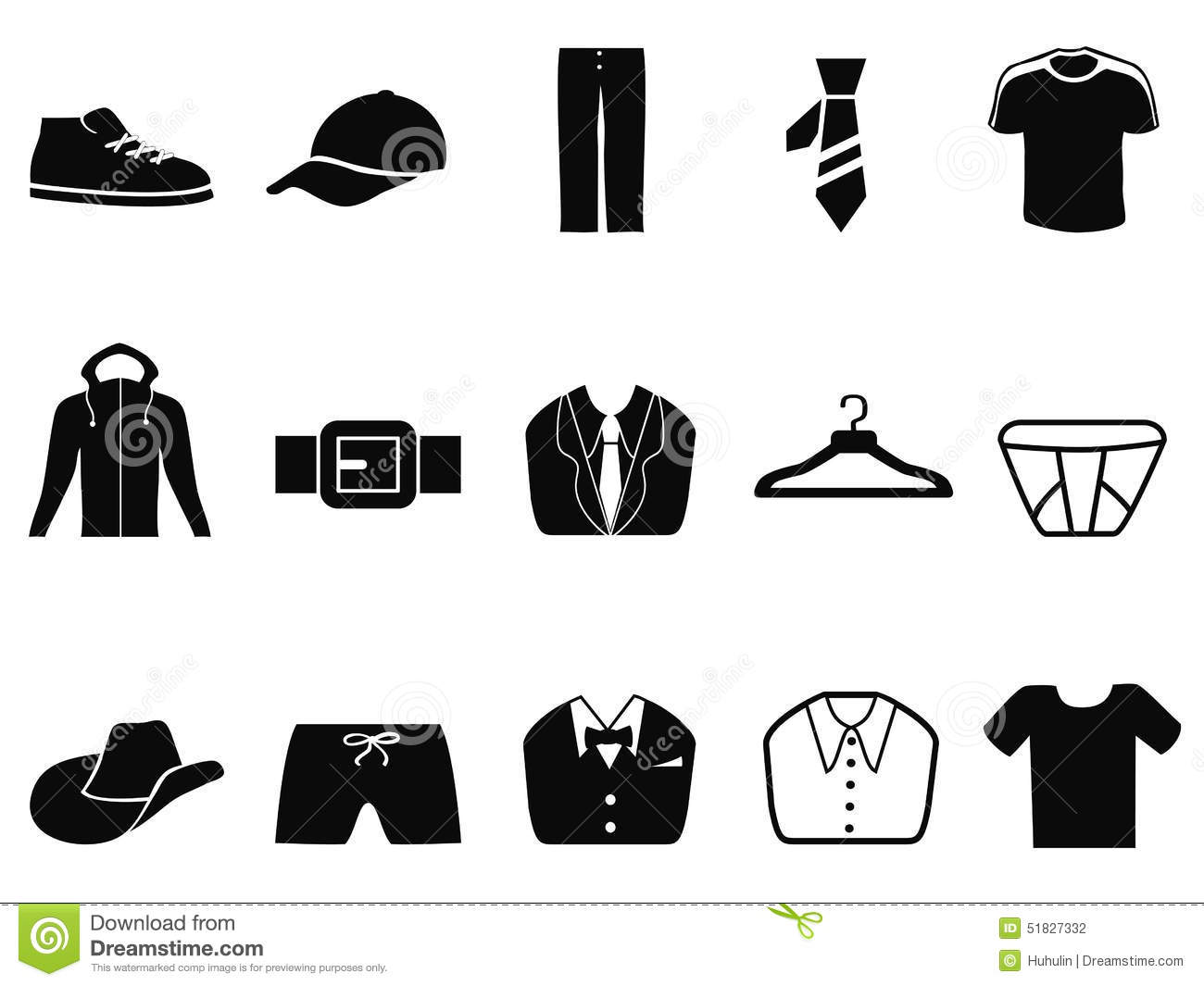 Black Men Fashion Icons Set Stock Vector Image 51827332
