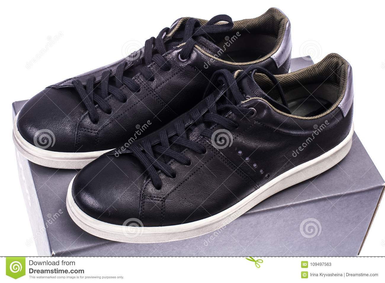 Black Men`s Sneakers With White Soles