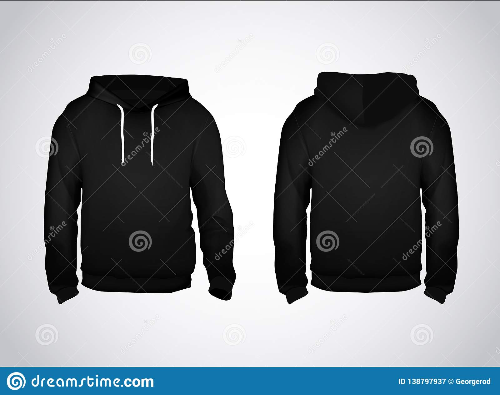 Black men`s sweatshirt template with sample text front and back view. Hoodie for branding or advertising