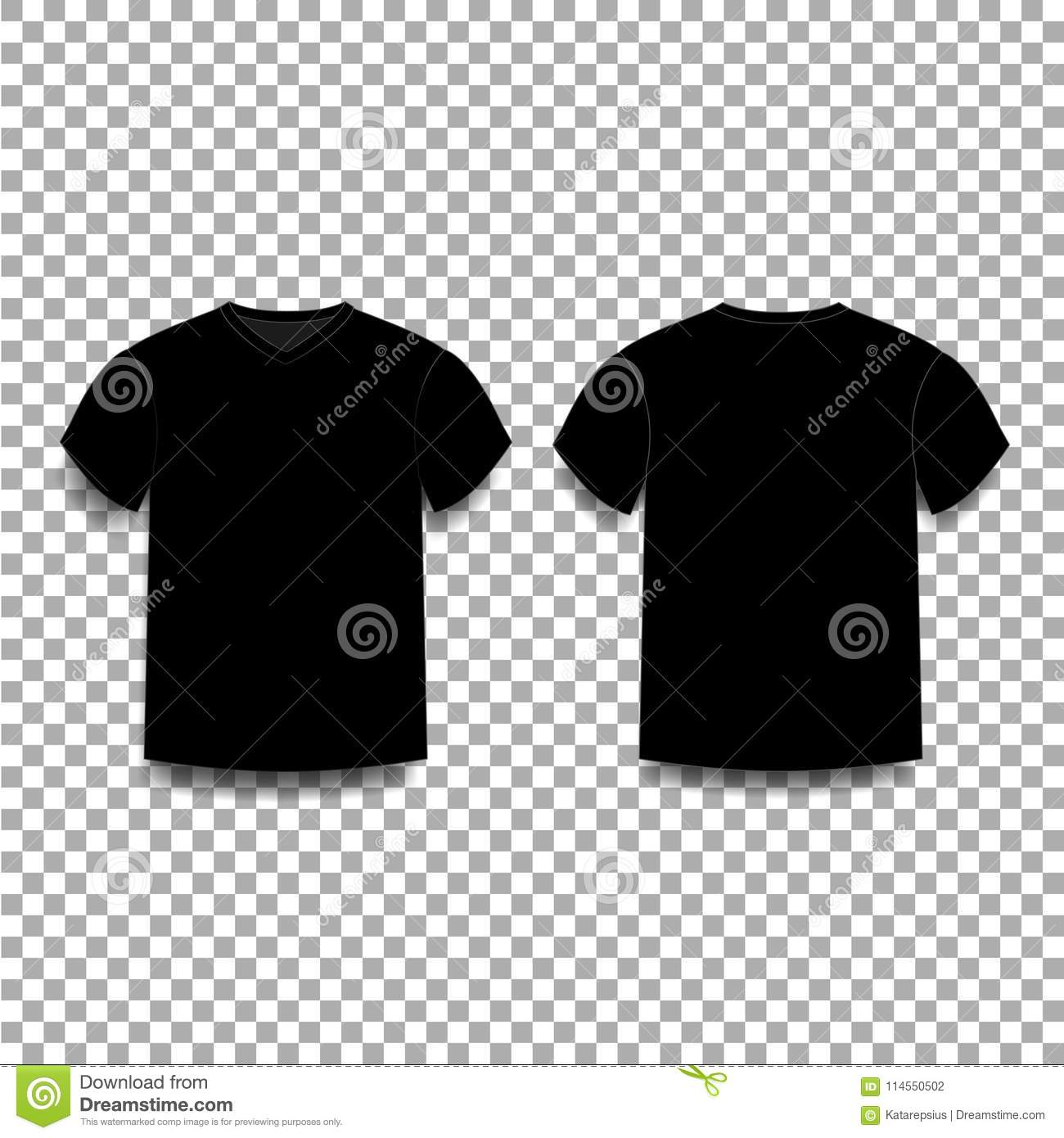 Black Men S T Shirt Template V Neck Front And Back Side Views Stock