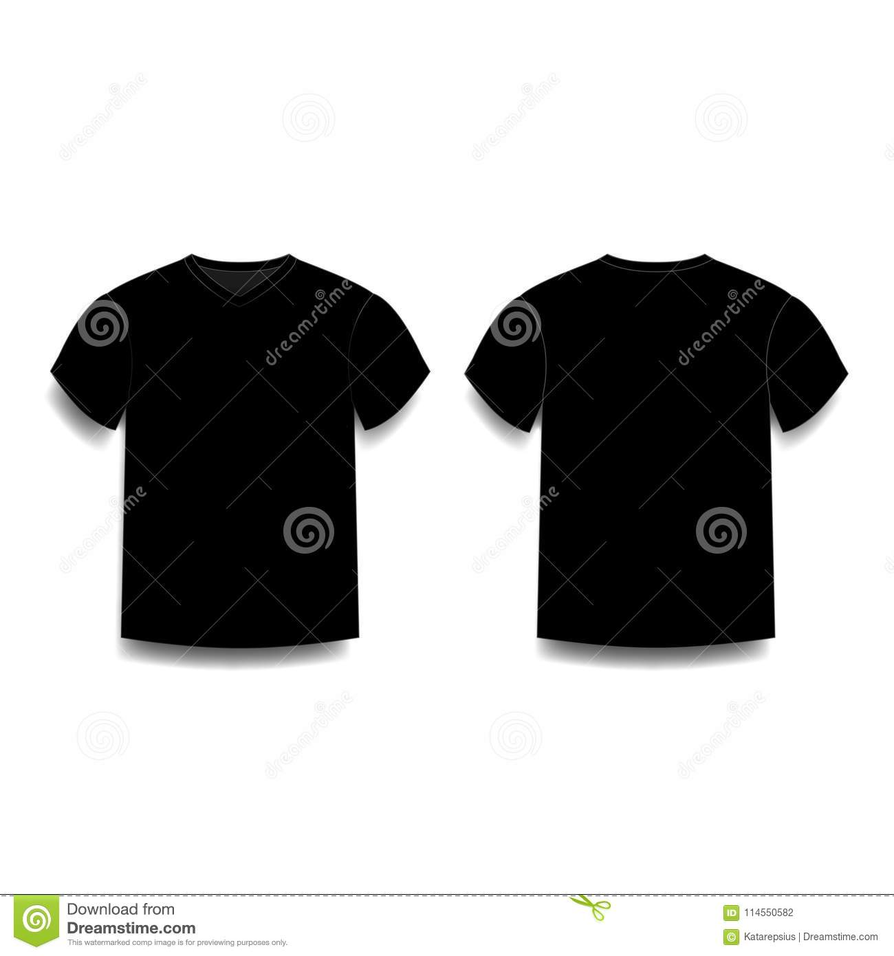 Black Male T Shirt Template V Neck Front And Back Side Views Stock