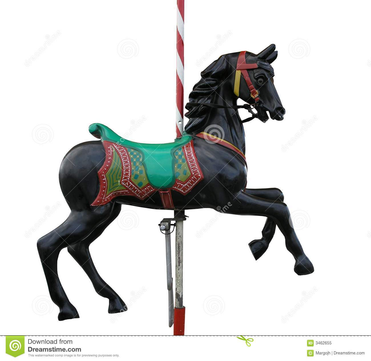 Black Merry-Go-Round Horse stock image. Image of white ...