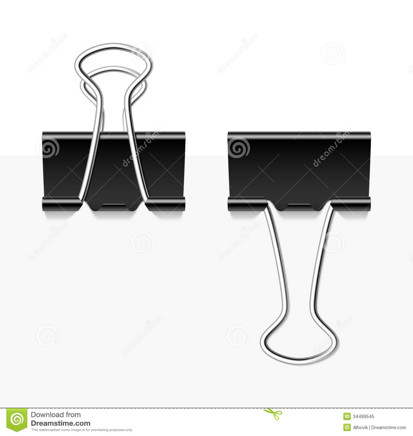 Black metal binder clips