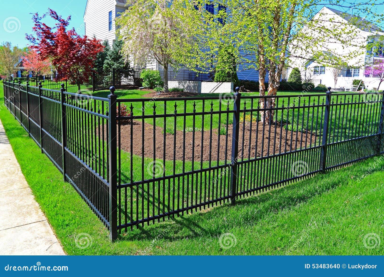 Black Metal Fence Stock Photo Image 53483640