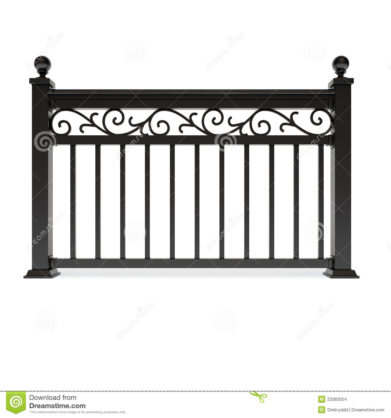 Black Metal Railing With Pattern Stock Images Image