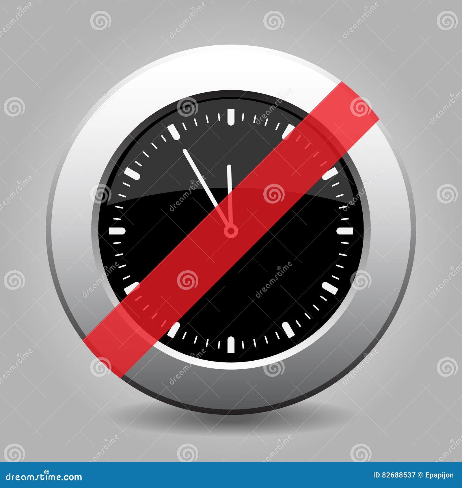 Black metallic button, last minute clock ban icon