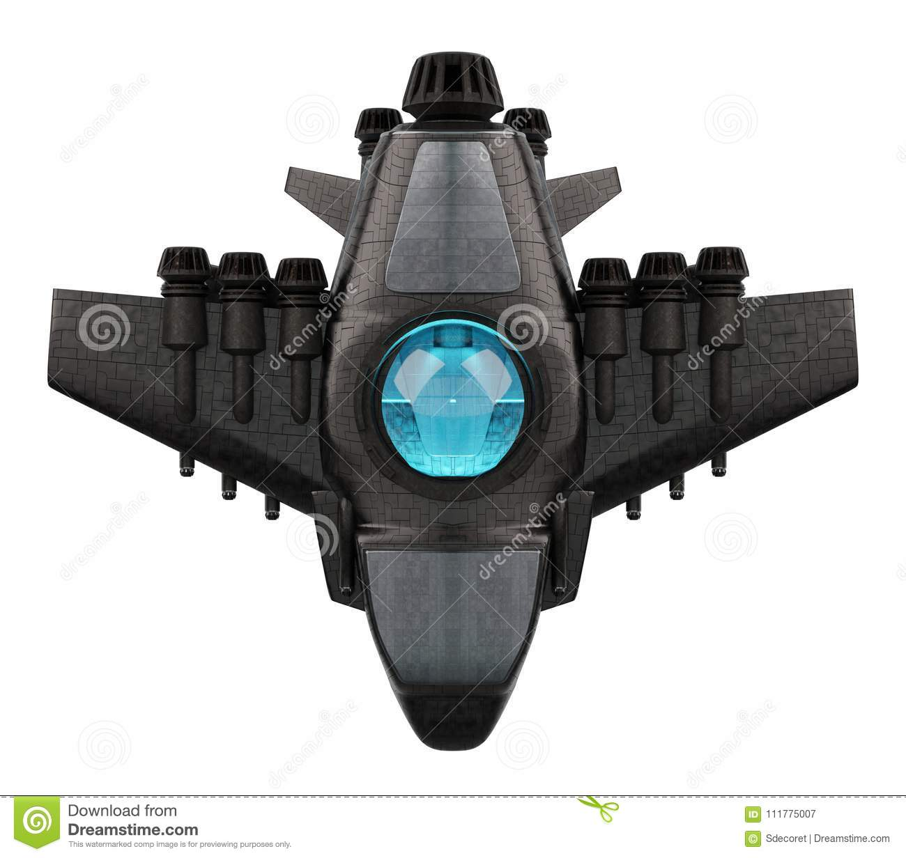 Futuristic spacecraft isolated on white background 3D rendering