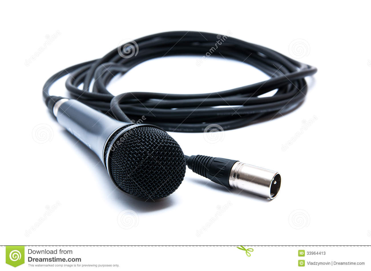 Microphone With Cord : Black microphone with a cord on white background stock