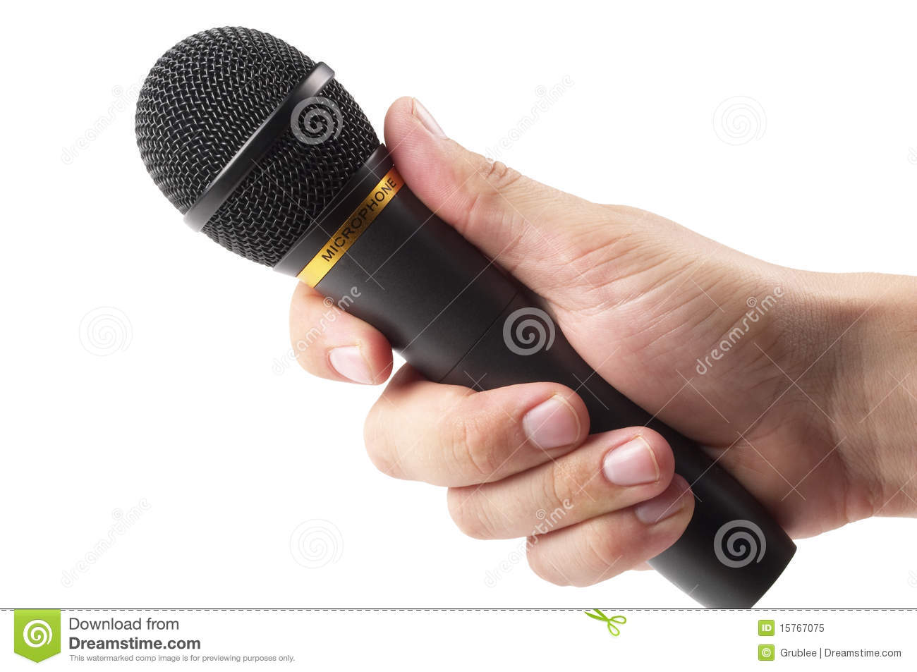 Microphone In Hand : Black microphone in the hand royalty free stock photo