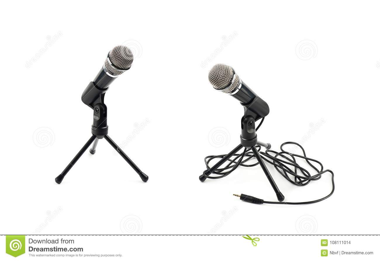 Black microphone on a rack isolated