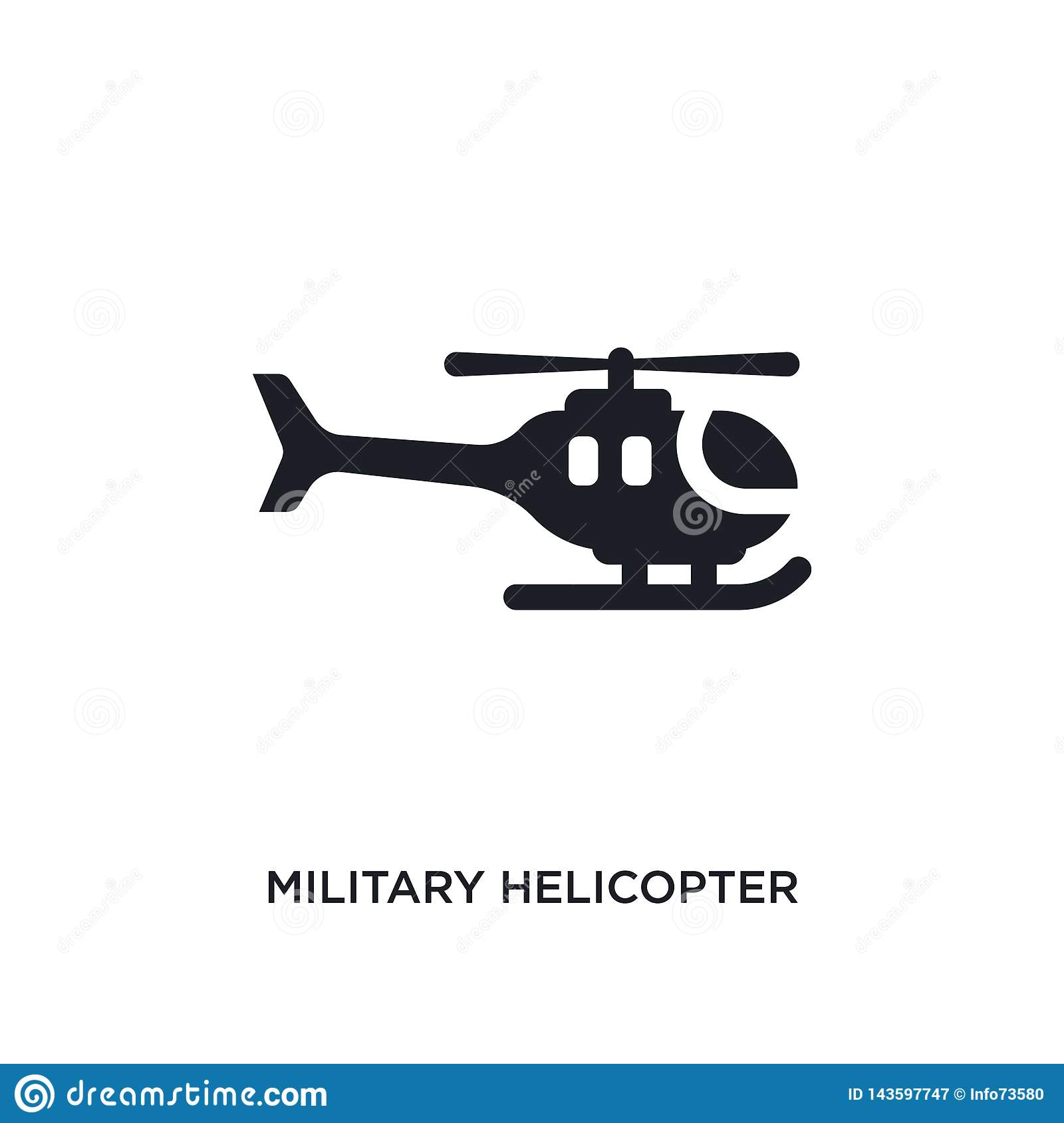 black military helicopter isolated vector icon. simple element illustration from transport-aytan concept vector icons. military