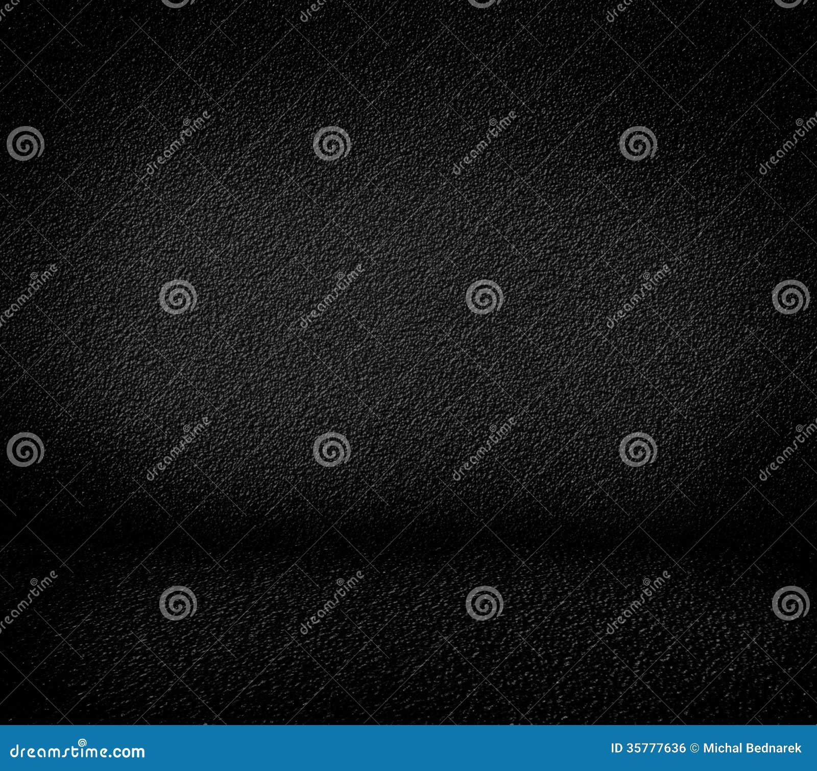 Black Minimalist Grainy Wall Background And Black Floor