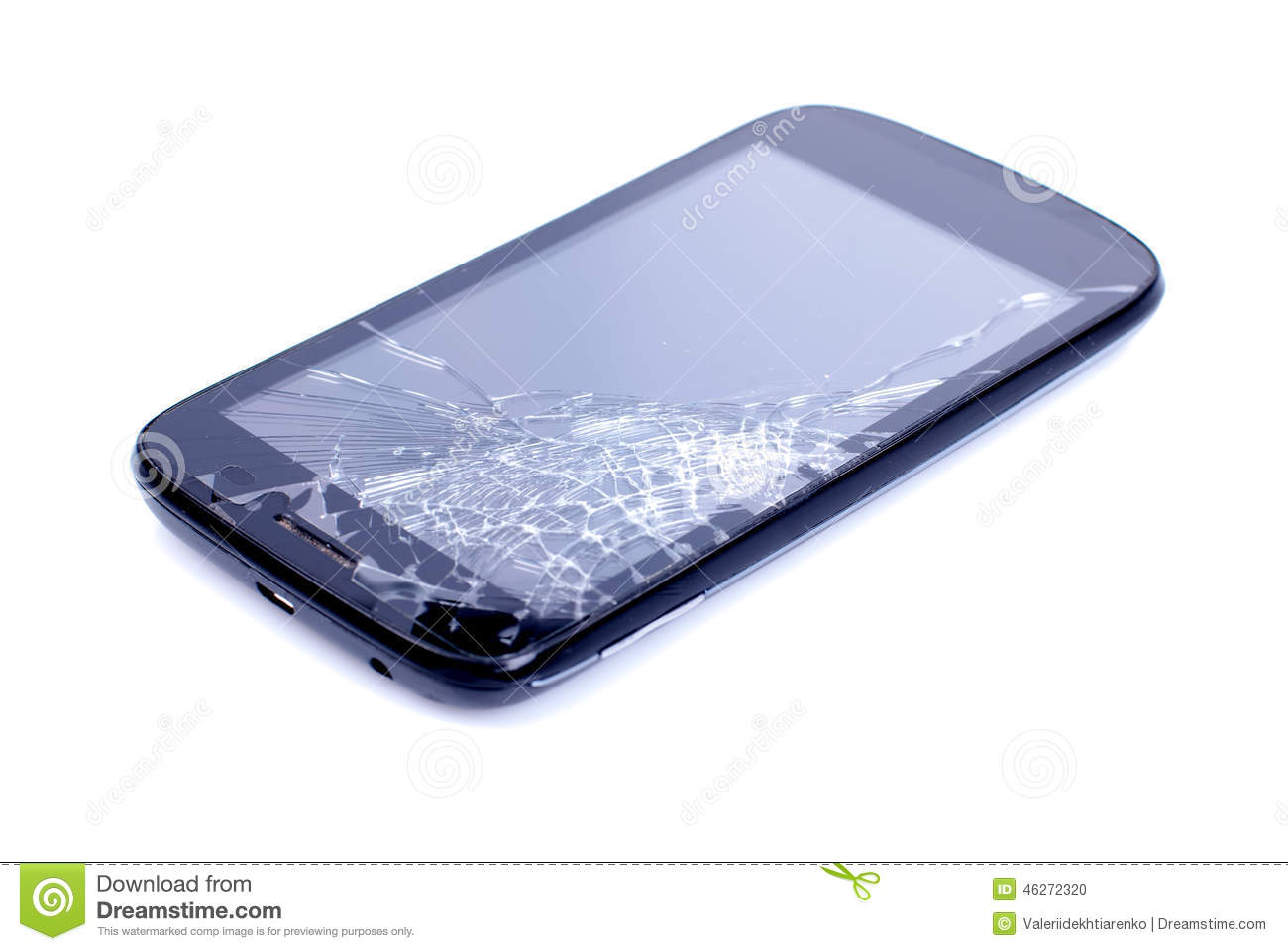 black mobile phone with a broken screen on an isolated background